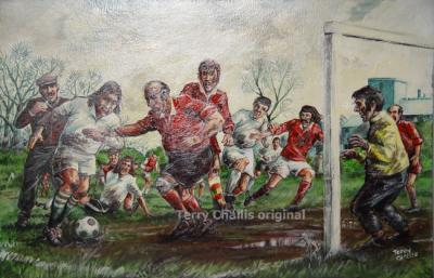 Sunday League 34x23in Acrylic on board framed