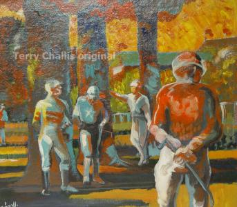 Between Races 26x18in Acrylic on board
