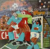 Goalmouth scramble-22.5x22.5in Acrylic on board